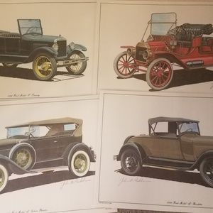 COLLECTIBLE Lot of 4 Ford Model T Cars Place Mats